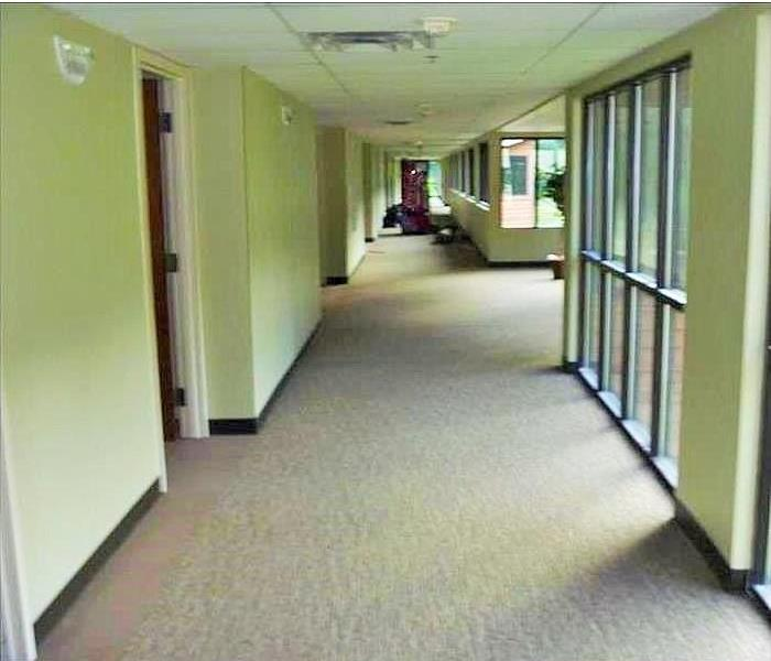 office corridor dry, clear of equipment and water
