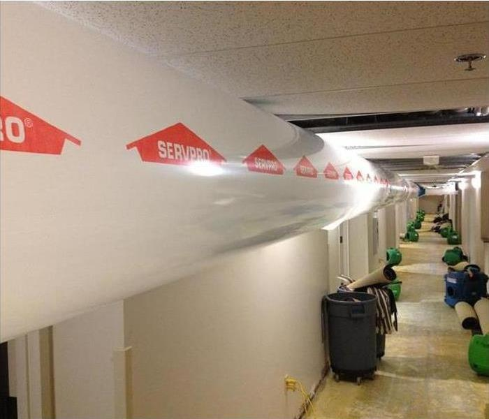 Poly Duct running along ceiling for drying office corridor
